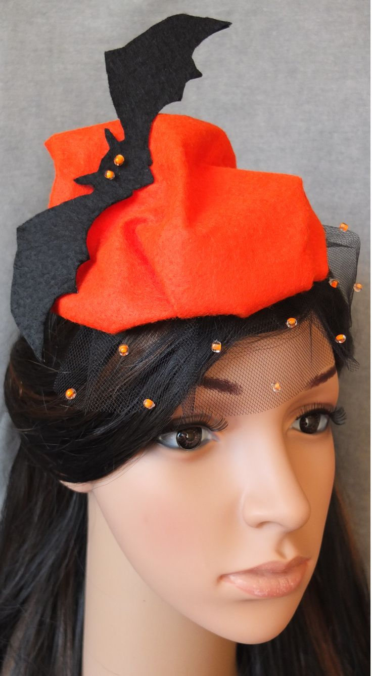 The original headpiece Halloween handmade in orange.  www.etsy.com/shop/JPPDesign