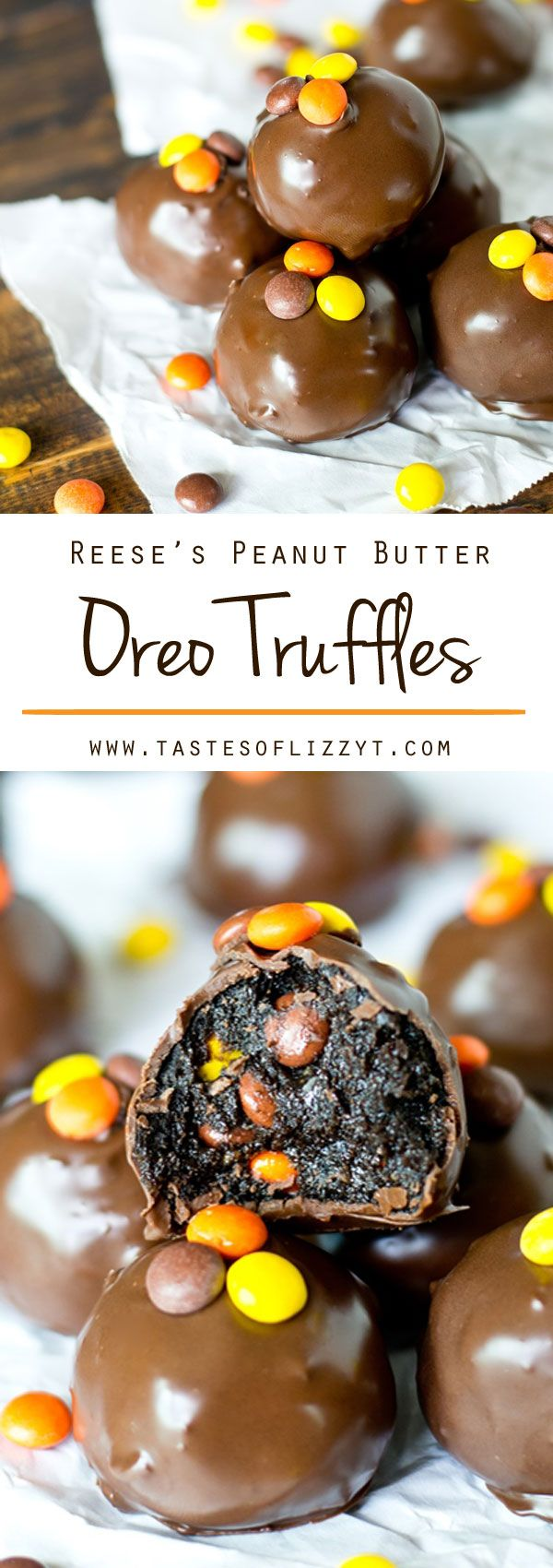 Reese's Peanut Butter Oreo Truffles. Oreos, cream cheese, Reese's Peanut Butter Cups and Reese's Pieces together in a bite-size, chocolate dipped treat.
