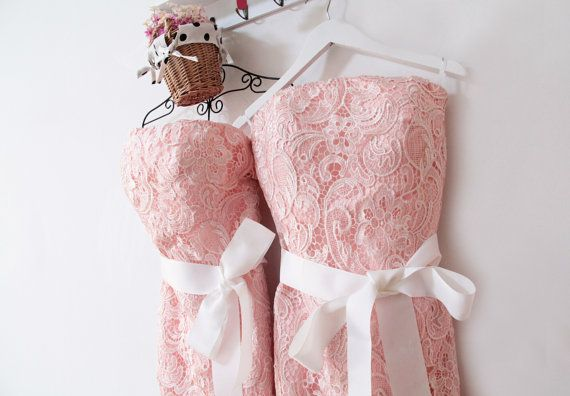 Blush Lace Bridesmaid DressShort Pink Lace by FashionStreets