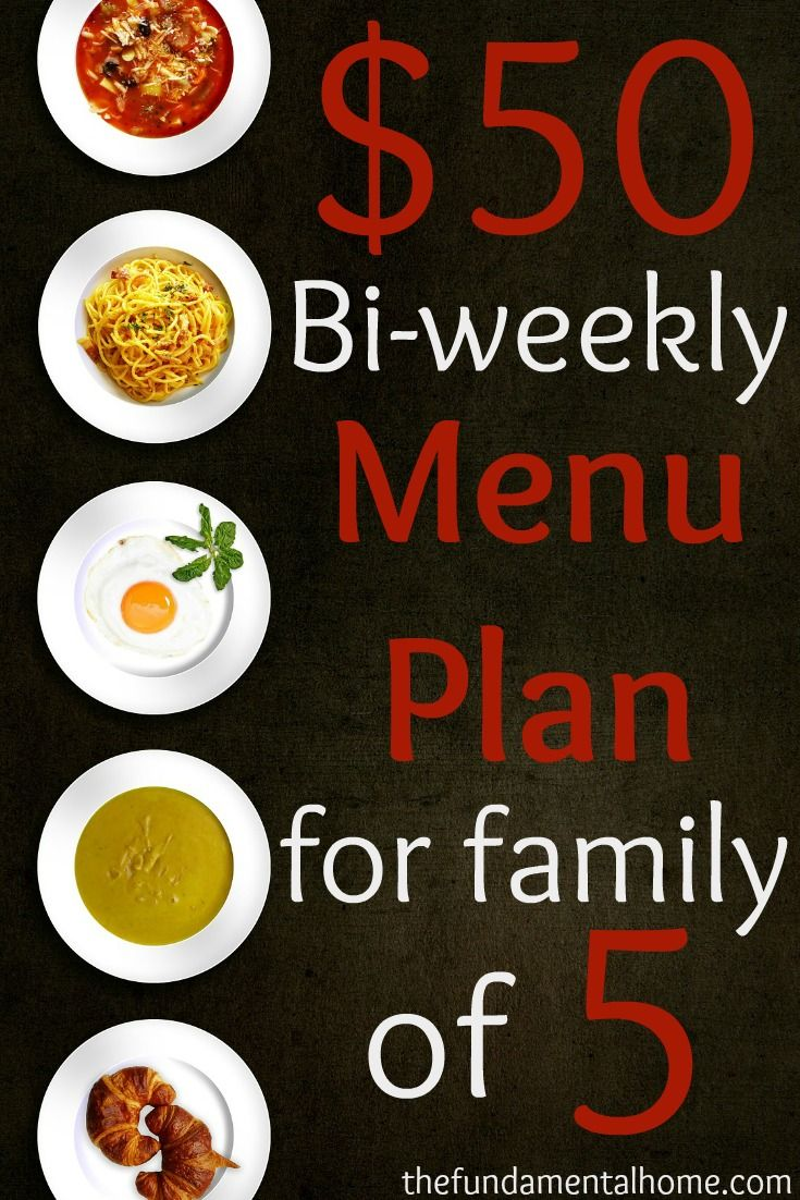 $50 Bi-weekly Menu Plan for a family of 5- Cheap, easy meals with video tutorials thefundamentalhome.com