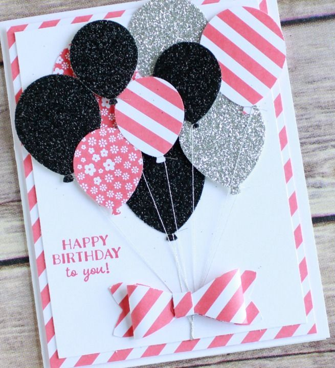 Punch art happy birthday card featuring Stampin UP! new Party Pants stamp set and balloon bouquet punch. Wendy Cranford http://www.luvinstampin.com