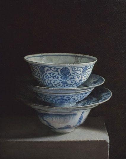 "Uzbek artist Erkin Kuvandikov was born in 1957 in Tashkent, the USSR ~ ""Still life with bowls"", 2011"