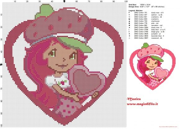 Strawberry Shortcake cross stitch pattern (click to view)