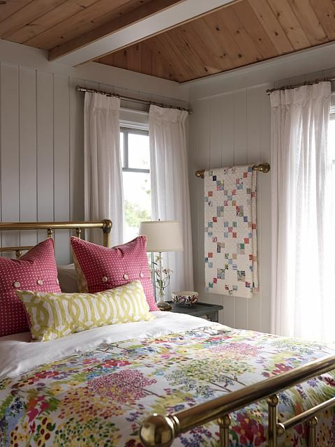Cottage Bedroom...ceiling...walls...bedding:   Paint it Whitewash | Sarah Richardson Design
