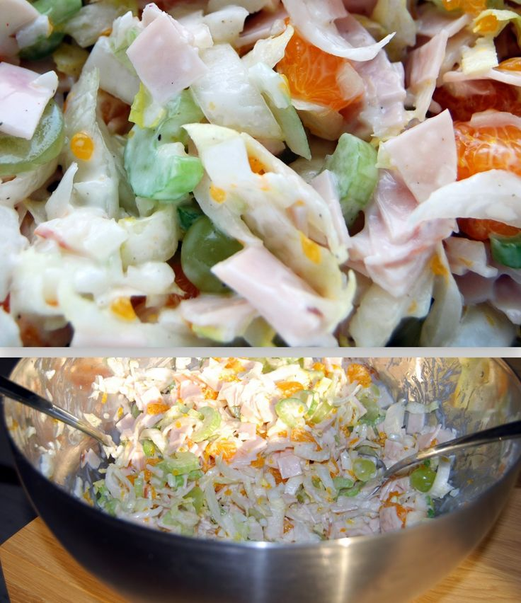 kipsalade wat zit erin : 300 gr plakjes kipfilet,150 gr slag of witlof,3 dunne stengels bleekselderij,175 gr mandarijnen ( blik ), 75 gr witte druiven,,snij alles klein en hussel door elkaar. Maak een dressing van 4 el yofresh,1 el citroensap,doe over de salade,snij een ui fijn en strooi dit erover. Tot slot peper erover.