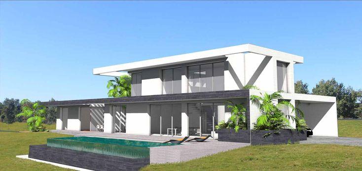 Maison contemporaine sur terrain en pente avec piscine à débordement