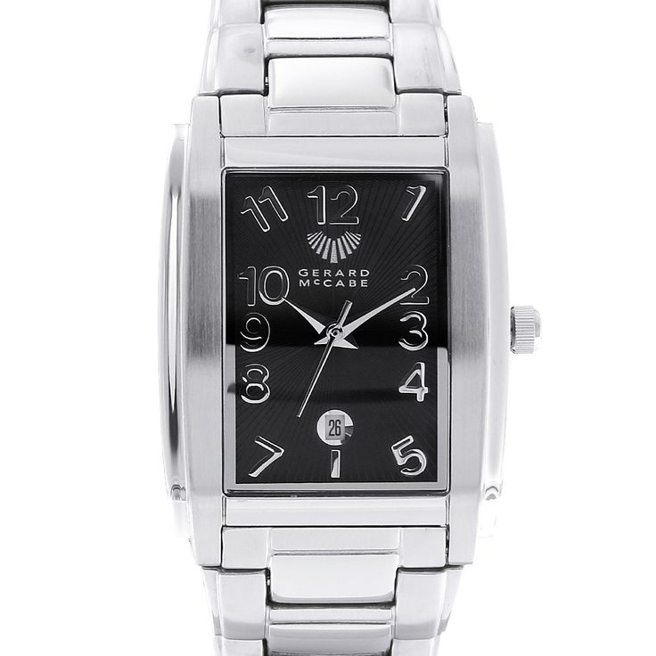 Crafted in stainless steel, this watch has a gorgeous, sleek silhouette paired with a modern face. The elegant date window completes the look. Itís the perfect addition to a classic wardrobe. This watch is backed by the Gerard McCabe 3 year warranty. For online purchases the strap can be adjusted before we send the watch to you if you provide us with a measurement of the length of any watch you already wear.