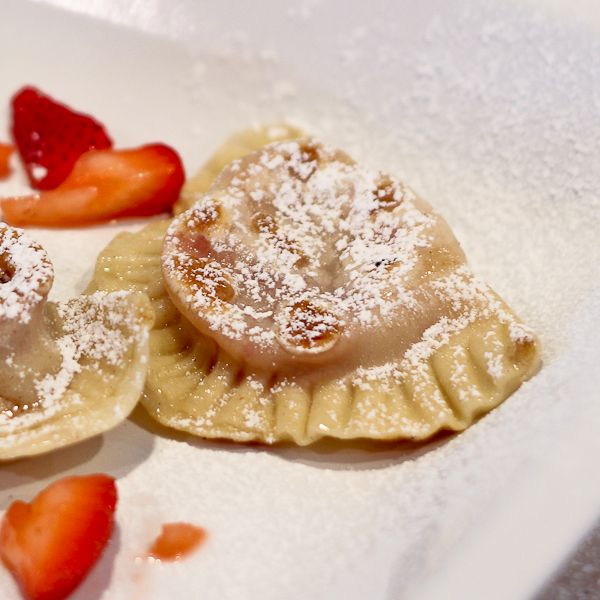 Pierogi stuffed with strawberries macerated in vodka #spring #strawberries (be sure to use Kosher for Passover powdered sugar if sprinkling with powdered sugar)