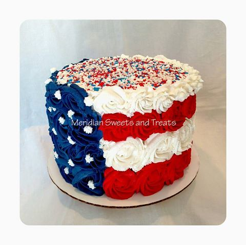 American Flag Cake by Meridian Sweets and Treats. #4thofjuly #america https://www.facebook.com/MeridianSweetsAndTreats/