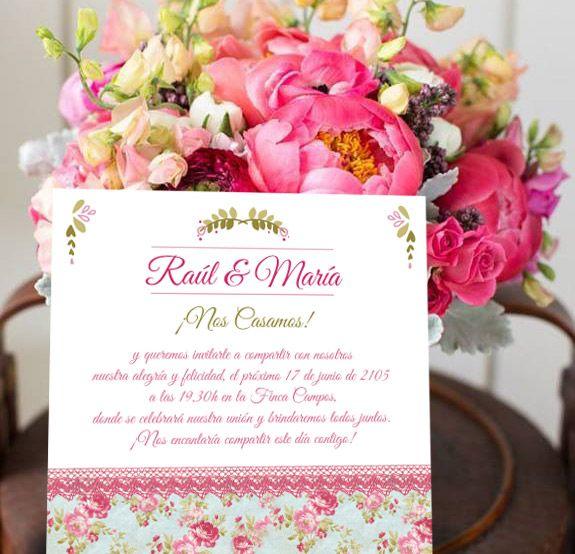 Invitaciones Olor a rosas