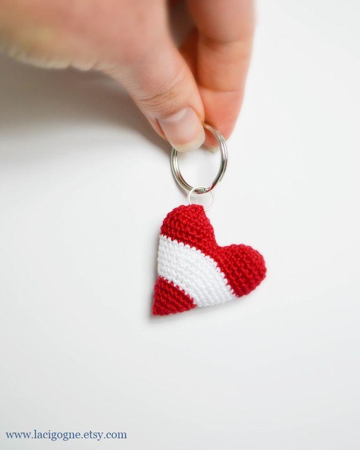 PATTERN:Heart the Keychain Crochet Pattern Colors of flag of Austria Crochet heart Small Crochet Gift Party favor Home decor #crochet #keychain #heart #crocheting #bagaccessory