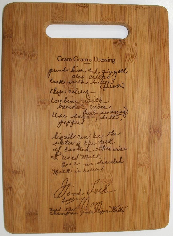 Would be supercool to do with the recipe for biscuits and tomato gravy. Or maybe inlays instead of laser engraving