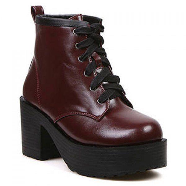 Laconic Lace-Up Design Women's Platform Shoes, WINE RED, 37 in Platform   DressLily.com