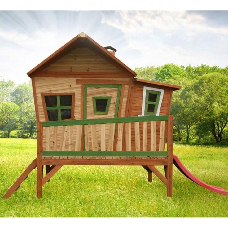 Kids Outdoor Playhouse Garden Play Backyard Activity Wooden Ladder Slide Porch #KidsOutdoorPlayhouse