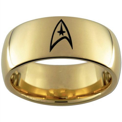 top quality tungsten ring 8mm gp gold domed star trek tungsten carbide wedding ring on - Star Trek Wedding Ring