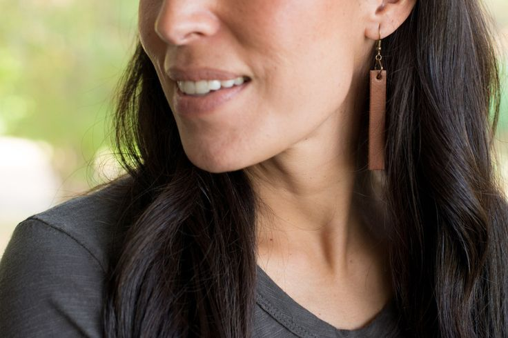 Leather Drop Earrings from Magnolia Market. Joanna Gaines. Fixer Upper. HGTV