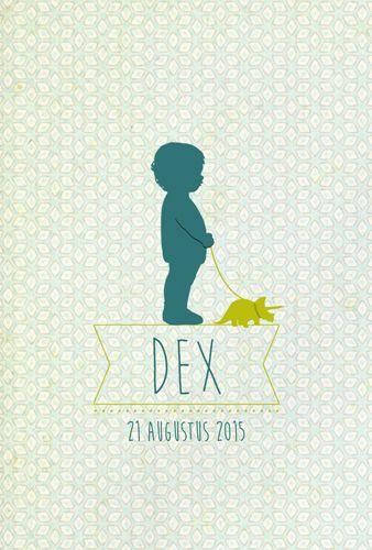 Geboortekaartje Dex - voorkant - Pimpelpluis - https://www.facebook.com/pages/Pimpelpluis/188675421305550?ref=hl (# jongen - dino - silhouet - origineel)