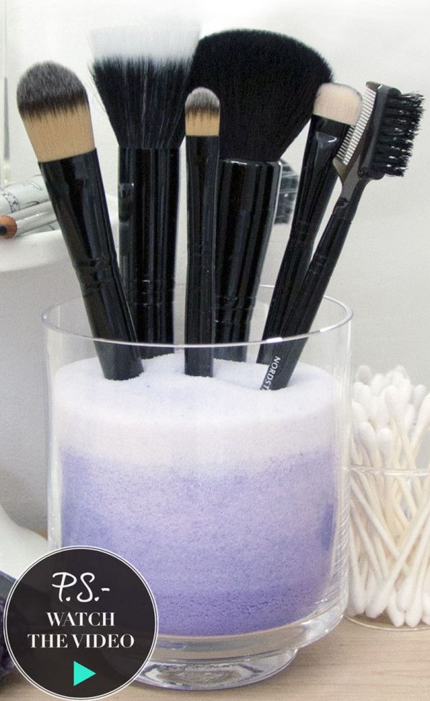 Fill up an empty jar or container with salt (inexpensive, and it doesn't attract bugs), then use it to store your makeup brushes.