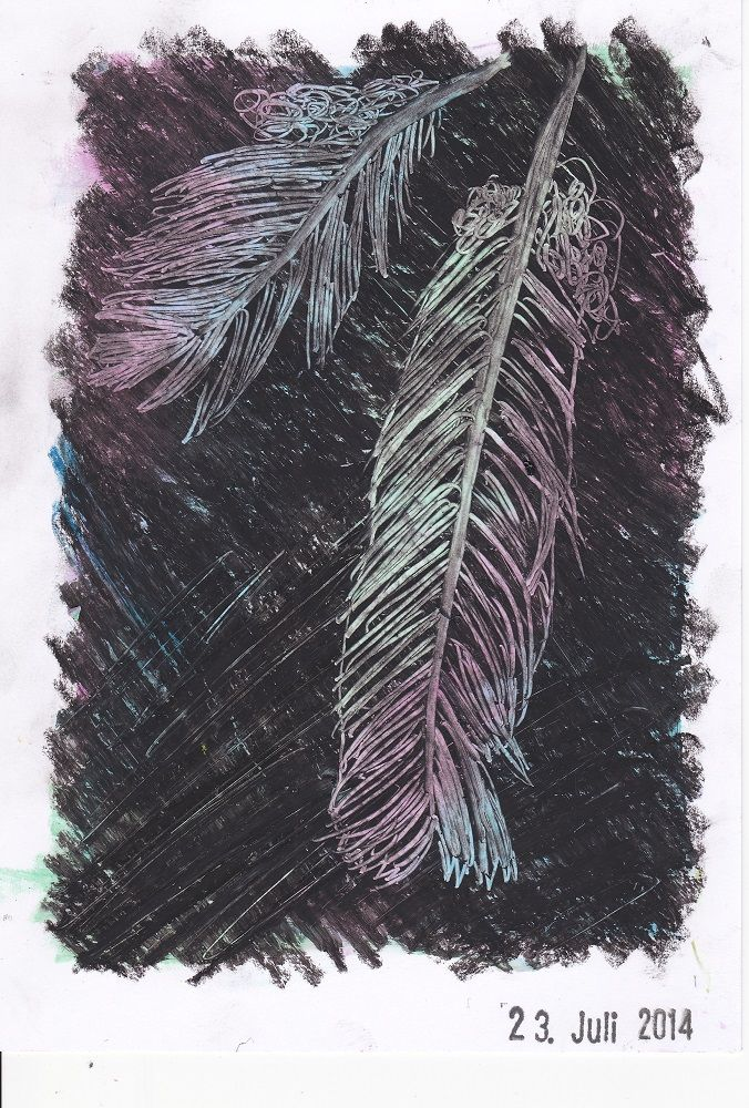 # 53 - feather, oil-pastells and sgraffito
