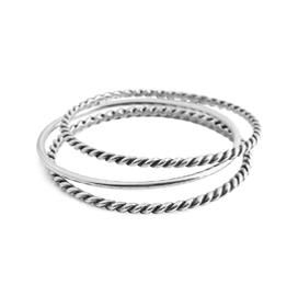 B1217 - Set of three bangles, one classic and two roped detail