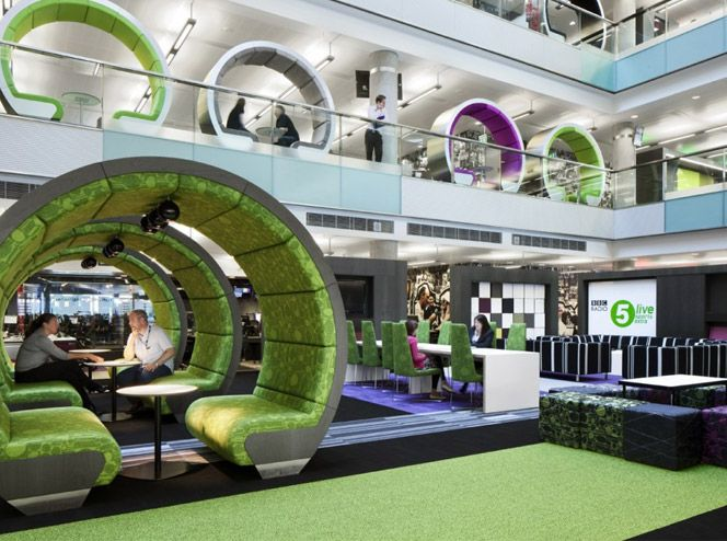 Interior Design Breathtaking Colorful Meeting Pod In Atrium Open Space Of BBC North Office Luxury Modern Vibrant