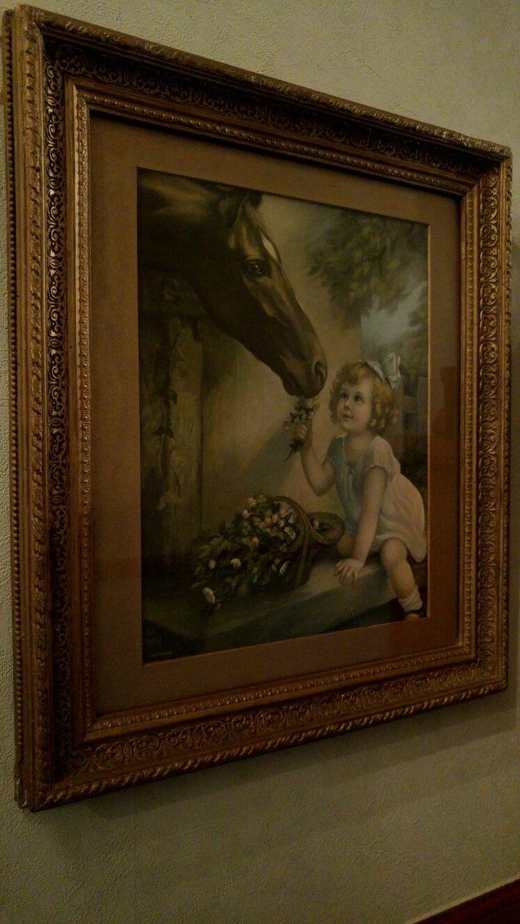 Horse print - gorgeous gilt frame.