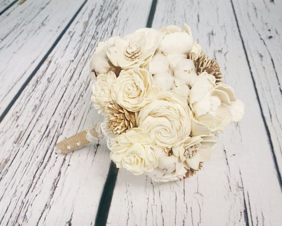 Medium cream rustic wedding BOUQUET Ivory sola by MKedraWedding