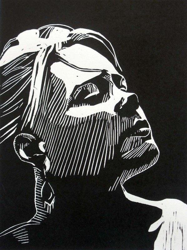 """Awaiting"" linocut by Mark Rowden. http://www.wingedlionpress.com.au/ Tags: Woman, Portrait, Profile, Linocut, Cut, Print, Linoleum, Lino, Carving, Block, Woodcut, Helen Elstone."