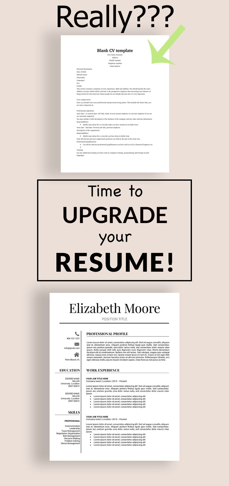 Upgrade your resume easily and quickly with this MS Word template. Modern Resume. Professional Resume.  #resume #cv