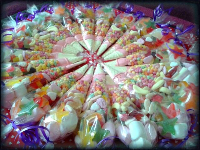 Sweet cones make a great alternative to the party bag #thankyou #party #sweets #candy #yummy #treat #mallow #jelly #haribo #rainbow #sweetcone #swetngroovystuff www.facebook.com/sweetngroovystuff