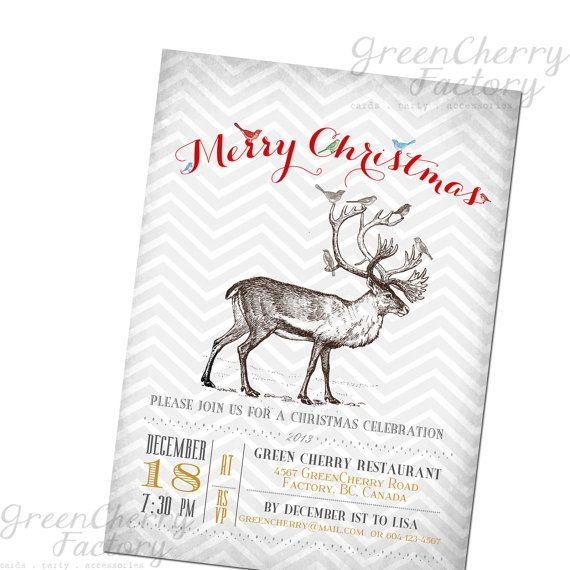 Vintage Typography Christmas Invitation  by GreenCherryFactory, $18.00