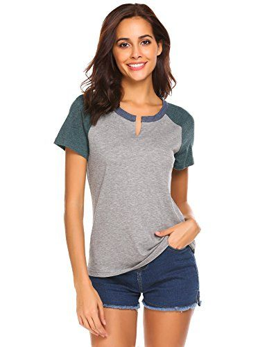 7ce8fc14b855 Minibee Women's Raglan Short Sleeve Notch Neck Color Block Baseball T-Shirts  Top