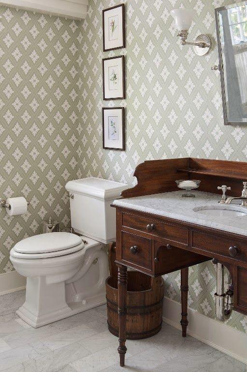 Half bath.  Paint existing sink.  I like the wallpaper, too.