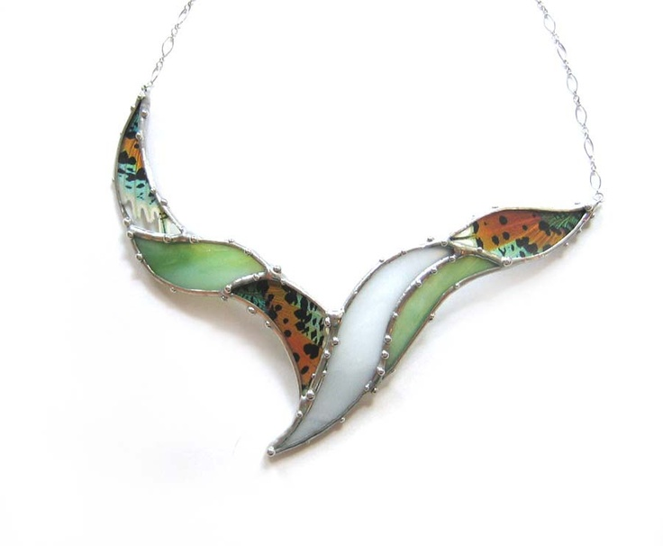 Statement Necklace - Real Sunset Moth and Stained Glass, via Etsy.