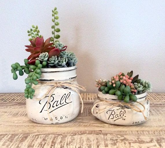 This Cute Succulent Set Will Look Great On Your Kitchen Windowsill Bathroom Shelf End Table Bedroo Mason Jar Succulents Mason Jar Decorations Decorated Jars