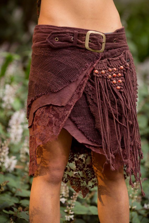 Jungle Skirt with Pockets (Purpley/Brown) – Competition Clothes Gypsy Competition Goa Bohemian Fairy Hippie Boho Wrap with Belt and Pockets