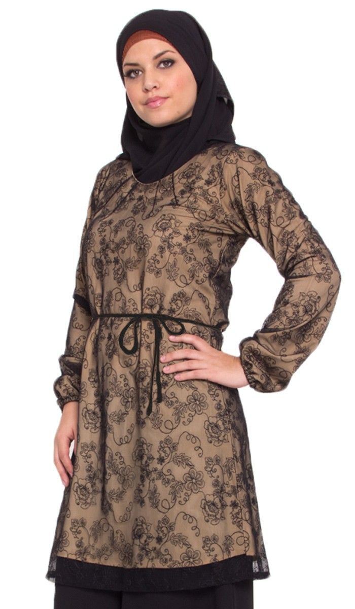 Nina Long Black Lace Tunic Dress | Islamic Clothing for Women | Islamic Clothing at Artizara.com