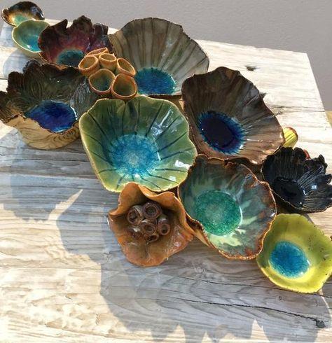 """Wall ceramic sculpture made of ceramics depicting corals and barnacles. Size: 12"""" x 12"""". Reclaimed Wood Wall Art; Ceramic Coral Reef Wall Application; Ocean Reef; Underwater Coral Reef Pieces are hand"""
