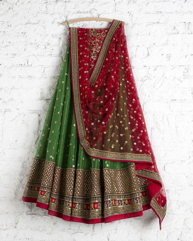 "293 Likes, 1 Comments - Swati Manish (@swatimanishiraaarav) on Instagram: ""SMF LEH 165 17 Emerald lehenga with kumkum red sequin dupatta and floral threadwork blouse  Please…"""