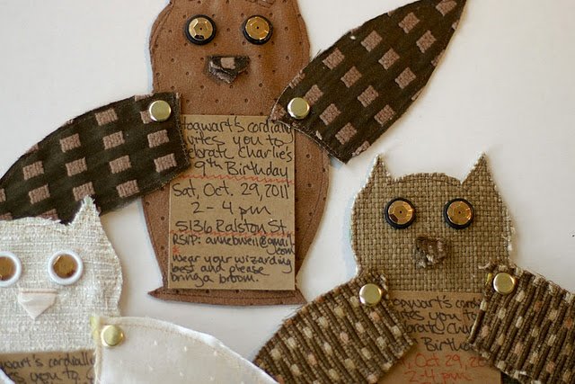 Fabric and paper owl invitations