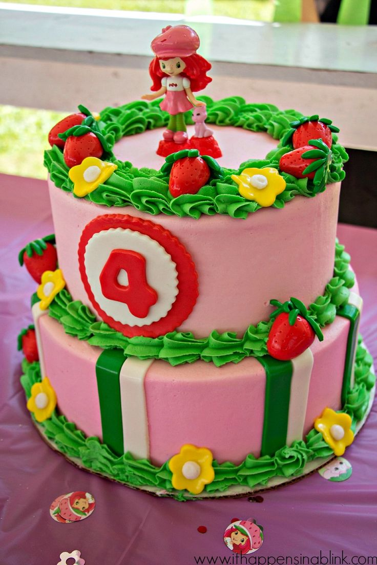 In law in addition free pink birthday cake in addition bake shop party - Strawberry Shortcake Birthday Cake