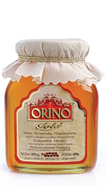 ORINO herbs & coniferous trees  Special and aromatic This wildflower honey is sourced exclusively from wild herbs, coniferous trees of Cretan mountains.  A pleasant tasting experience.