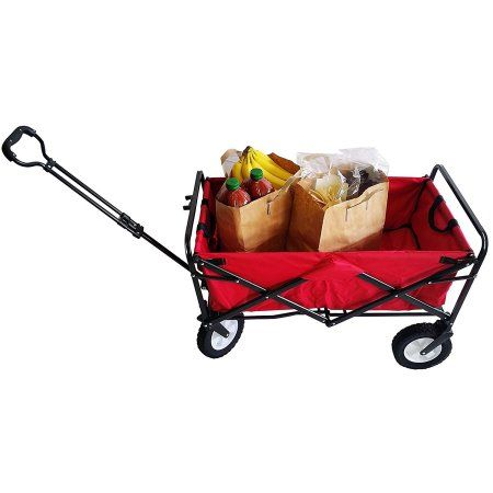 Seco Heavy Duty Folding Utility Wagon Wheelbarrow Garden Cart Sports Cart Shopping Buggy , Red, 220 lb. capacity