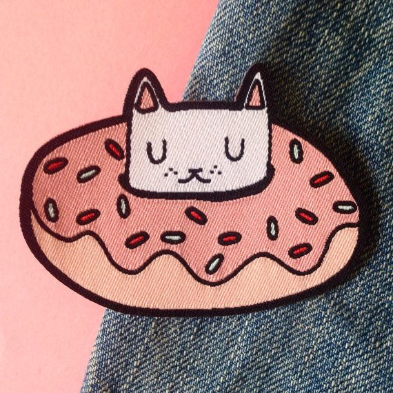 Donut cat woven patch  Iron on patch  sew on by ilikeCATSshop
