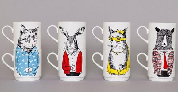 Bandit Fox Stack-able Tea Mugs