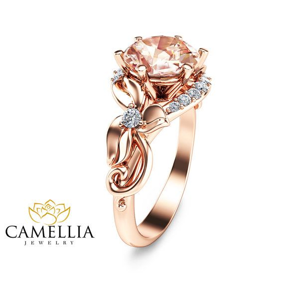 Rose Gold Morganite Engagement Ring In 14K Rose by CamelliaJewelry