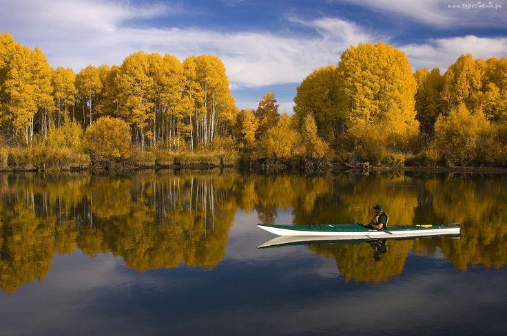Jesień, Jezioro, Kajak, Brzozy, Odbicie