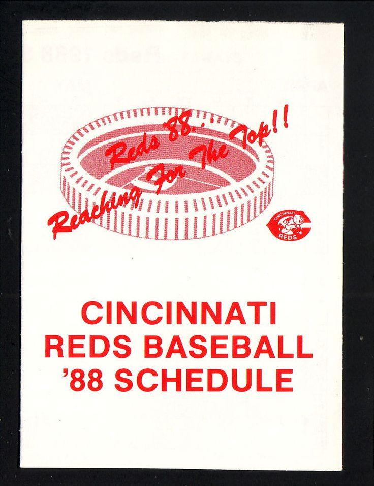 1988 Cincinnati Reds Schedule--Budweiser #Pocket