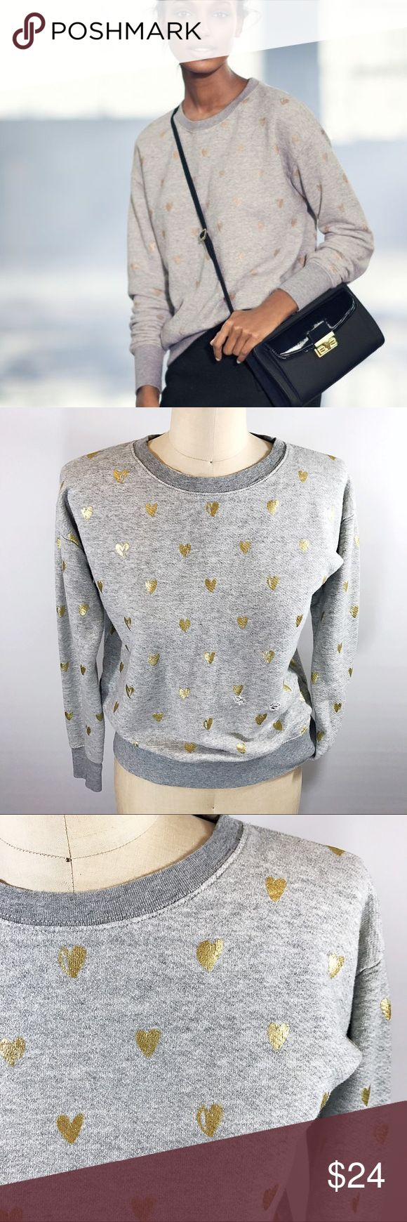 J. CREW Grey Crew Neck Sweatshirt w/Gold Hearts! Slouchy sweatshirt with hand drawn gold leaf hearts! Total casual chic style, 100% Cotton & machine washable. Distressed fabric, as pictured. Approx 23in length, 21in chest, 20in arm. Fits slightly oversized, could fit an XS/S depending on how you want it to fit. J. Crew Tops Sweatshirts & Hoodies