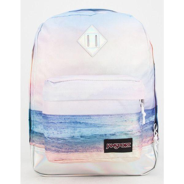 JanSport Super FX Backpack ($50) ❤ liked on Polyvore featuring bags, backpacks, sunset, padded bag, jansport rucksack, print backpacks, rucksack bag and polyester backpack